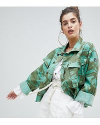 Reclaimed (vintage) - Revived Cropped Overdyed Camo Jacket - Lyst