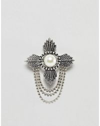 ASOS - Edition Ornate Brooch With Chains - Lyst