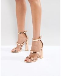 Public Desire - Rose Gold Oyster Triple Strap Sandals - Lyst