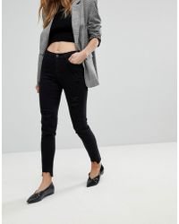 Urban Bliss - Distressed Ripped Skinny Jean In Washed Black - Lyst