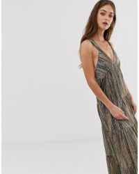 Ba&sh Salsa Striped Glitter Maxi Dress - Green
