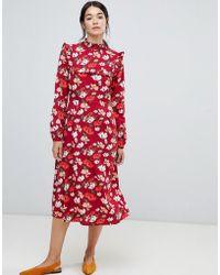 Vila - Floral Frill Midi Dress - Lyst