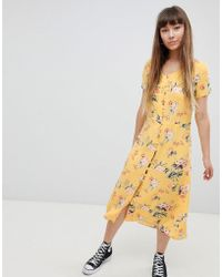 New Look - Button Front Tea Midi Dress - Lyst