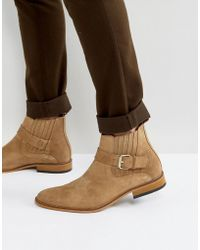 House Of Hounds - Adrian Suede Buckle Boots In Tan - Lyst