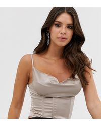 Missguided Cowl Neck Crop Top With Corset Detail In Silver - Pink