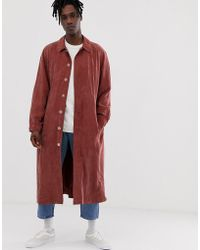 ASOS - Long Trench Coat In Washed Rust - Lyst