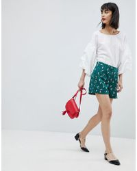 Esprit - Bird Print Contrast Pipe Shorts - Lyst