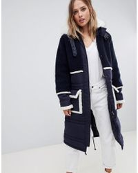 Urbancode - Longline Parka Coat With Contrast Borg Trim - Lyst