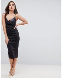 31356a3d4f9b ASOS Asos Long Sleeve Deep Plunge Bandage Mesh Midi Dress in Black ...