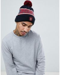 ASOS - Bobble Beanie In Black With Brooklyn Design - Lyst