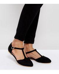 London Rebel | Wide Fit Flat Tbar Shoe | Lyst