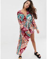 fb22ba4482 ASOS Glam Beach Kimono In Neon Snake Print With Ruffle Sleeves in ...