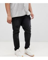 ASOS - Plus Tapered Jeans In 12.5oz In Washed Black With Heavy Rips - Lyst