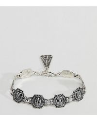 Reclaimed (vintage) - Inspired Chunky Chain Bracelet In Burnished Silver Exclusive To Asos - Lyst