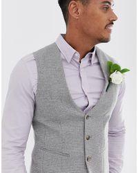 ASOS Wedding Super Skinny Suit Waistcoat In Gray Micro Houndstooth