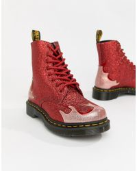 Dr. Martens - 1460 Pascal Flame (pewter Coated Glitter/gunmetal Chrome Paint Metallic/black 0.3mm) Women's Boots - Lyst