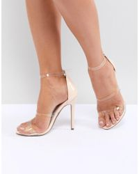 Missguided - Clear Three Strap Heeled Sandals - Lyst