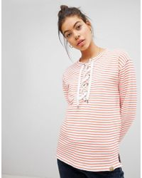 Blend She - Tie Neck Striper Jumper - Lyst