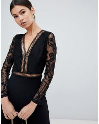 Love Triangle - Lace Plunge Front Body In Black - Lyst