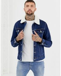 Bershka - Denim Jacket With Borg Collar - Lyst