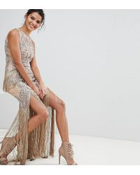 A Star Is Born - Luxe All Over Jewel Embellished Maxi Dress With Beaded Tassel Hem - Lyst