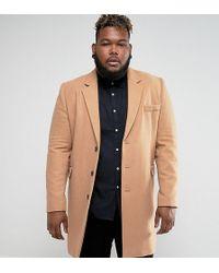 ASOS - Plus Wool Mix Overcoat In Camel - Lyst
