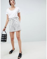 ASOS - Design Tailored Linen Casual Short With Tie Waist In Stripe - Lyst