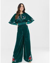 ASOS - Velvet Kimono Jumpsuit With Embroidery And Embellishment - Lyst