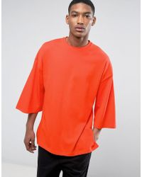 ASOS | Oversized T-shirt With Extreme Wide Sleeves In Orange Heavyweight Jersey | Lyst