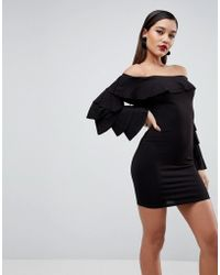 ASOS | Bardot Extreme Ruffle Sleeve Bodycon Mini Dress | Lyst