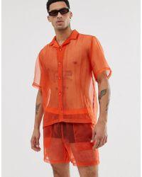 ASOS Festival Two-piece Oversized Sheer Organza Shirt In Orange