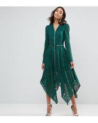 ASOS - Lace Hanky Hem Zip Detail Midi Dress - Lyst