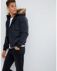 French Connection - Faux Fur Hood Flight Jacket - Lyst