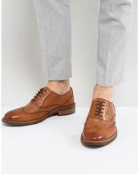 Dune | Pebble Brogues In Tan Leather | Lyst