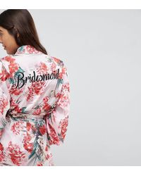Missguided - Bridesmaid Satin Floral Robe - Lyst