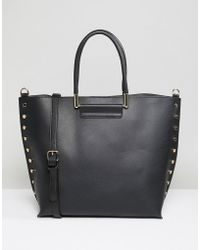 Warehouse - Shopper Bag With Stud Detail In Black - Lyst