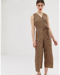 91e79059e909 Warehouse - Cropped Jumpsuit With Belt In Leopard Print - Lyst
