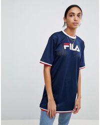Fila - Oversized T-shirt Dress In Mesh With Contrast Tipping - Lyst