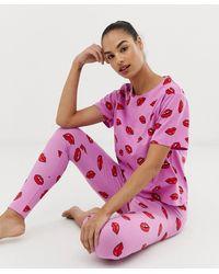 ASOS - Lips Pyjama legging Set - Lyst