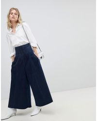 ASOS - Design Wide Leg Jeans With Corset Waist Detail - Lyst