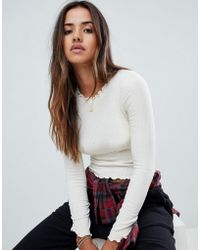 Abercrombie & Fitch - Frill Neck Ribbed Top - Lyst