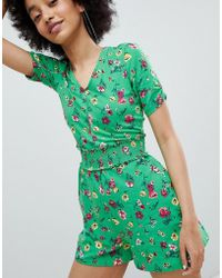 Bershka - All Over Floral Printed Jumpsuit In Green - Lyst