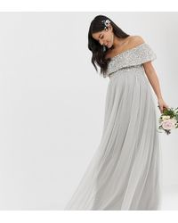 c5bed2989c La Perla High Neck Maxi Tulle Dress With Tonal Delicate Sequins in ...