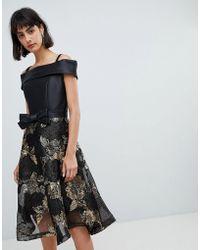 Amy Lynn - Bardot Skater Dress With Jacquard Skirt - Lyst