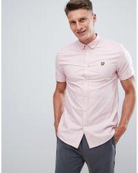 Lyle & Scott - Button Down Short Sleeve Oxford Shirt In Pale Pink - Lyst