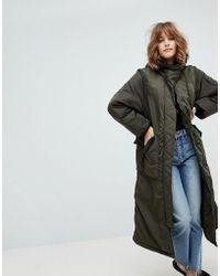 Monki - Longline Padded Jacket - Lyst