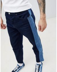 ASOS - Skater Jeans In Indigo With Side Stripe Insert - Lyst