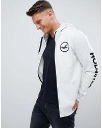 Hollister - Sleeve Print Logo Full Zip Hoodie In Grey - Lyst