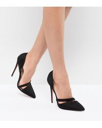 Lost Ink - Black Cut Out Heeled Court Shoes - Lyst