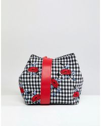 Liquorish - Gingham And Floral Shoulder Grab Bag - Lyst